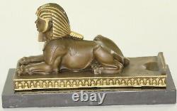 European Vintage Finery Art Deco Egyptian Revival Bronze Sphinx Serre Book Lrg