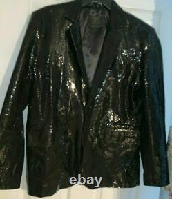 Exotic Men Blazer Jacket Serpent Printed Black Python Cobra In Relief Designer
