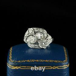 Fine Vintage Art Deco Ring Engagement Dress 14k White Gold On 2ct Diamond