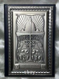 Fine Vintage Punched 925 Italian Religious Silver Catholic Plate Dairy Book