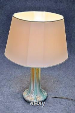 Floral Art Nouveau Ceramic Table Lamp Überlaufglasur Vintage Design