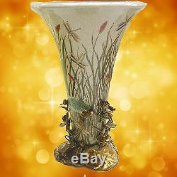Flower Vase Luxury Porcelain Art Nouveau Bronze Vintage Aesthetics Noble
