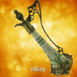 Flowers Vase Art Nouveau Vintage Brass Porcelain Aesthetic Noble Gift
