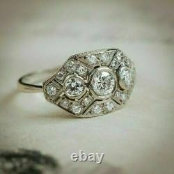 Former Art Deco 2.28ct Diamond Round Vintage Engagement Ring 925 Silver