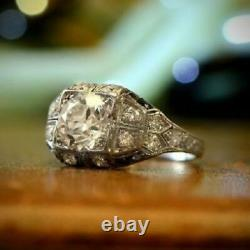 Former Art Deco Rond Vintage Engagement Ring In 925 Sterling Silver