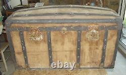 Former Travel Box Malle Basket Vintage Wedding Trousseau Bombed 1900