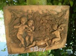 Garden Reclamation, Vintage French Art Nouveau 4 Cherubs Bird & Plaque
