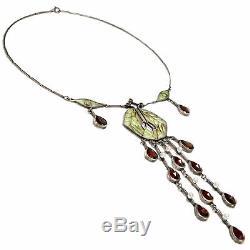 Garnet & Fenster-enamel & Silver Necklace Art Nouveau Forms, Um 1980 Vintage