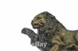 Giant Armor Vintage Bronze Lion Cat Art Statue Tablecloth Pompeia Office