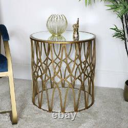 Golden Copy Ornate Side Table Art Deco Vintage Luxury Decor Maison Accent