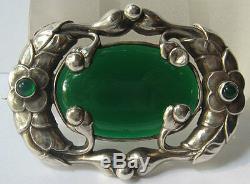 Gorgeous Art Nouveau Jensen Style Vintage Sterling & Chrysoprase Floral