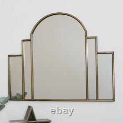 Grand Golden Art Deco Arc Arc Fan Mirror Vintage Mural Luxury Glamour Decor