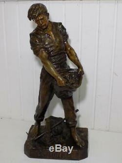 Grand Vintage Art Nouveau Bronze Sculpture Artist Emile Picault The Ore