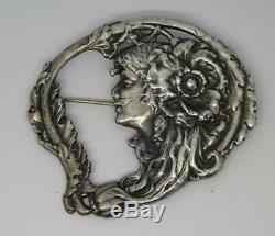 Grand Vintage English Art Nouveau Pattern Pin, France Deverin, Sterling Silver