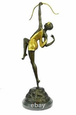 Grand Vintage Sculpture French The Faguays Bronze Statue Goddess Diana Art
