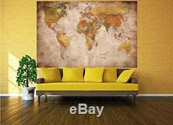 Great Art World Map Vintage And Retro Wall Decoration (140 X 100 Cm)