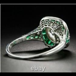 Halloween Art Deco Vintage Style 3ct Diamond And Emerald 925 Silver Ring