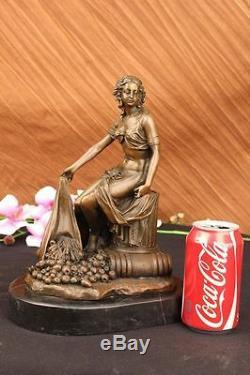 Handmade Bronze Bust Of Maiden Vintage Style Paris France Art Deco Fonte