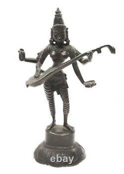 Hindu Goddess Sarasvati Old Brass Idol Statue Standing Decor Vintage House Art