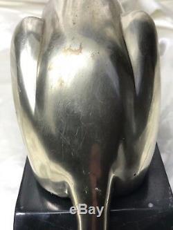 Incredible Vintage Bronze Silvery Cheetah Wild Cat Animal Large Marble Base
