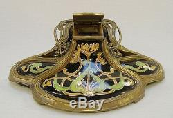 Inkwell Work Art Nouveau Bronze Mounted Porcelain Vintage Ästhetikdeko