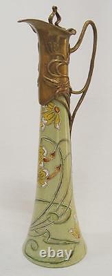 Jug Jug Vase Optical Art Nouveau Bronze Vintage Porcelain Gift