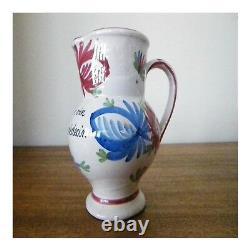 Jug Wine Ceramic Pottery Handmade Vintage Art Deco Design Twentieth Pn France N66