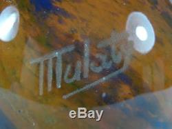 Lamp Art Nouveau Deco Glass Pate Signed Mulaty Lamp Vintage Glass Paste