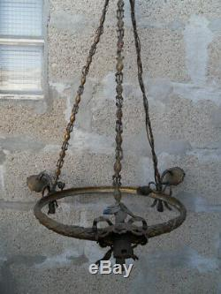 Lamp Chandelier Suspension Lamp Vintage Bronze Mounts Art Nouveau Napoleon