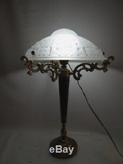 Lamp Vintage Mushroom Paste Glass Geometric Style Art Deco Art Nouveau