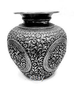 Look Vintage Designer Silver Storage Pot Metal Sculpture House Decor Art