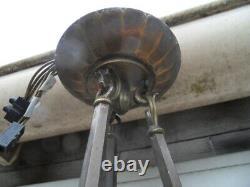 Lustre Lamp Lamp Lamp Vintage Bronze Frame Art Nouveau Degué Muller Noverdy Daum