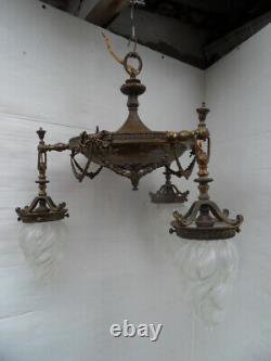 Lustre Suspension Lamp Lamp Lamp Bronze Vintage Art Nouveau Napoleon Tulip Flame