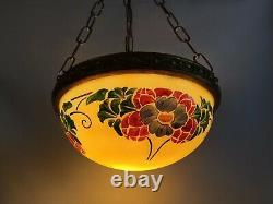Magnificent Vintage Suspension Vase Art Nouveau 1 Fire, Made Of Yellow Glass Paste