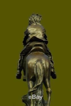 Main European Bronze Sculpture Vintage Indian War Chief Armor On Horse Art