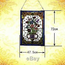 Makenier Style Tiffany Stained Glass Effect Vintage Art Decorative Flower Vase
