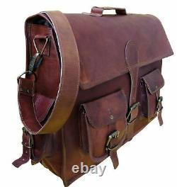 Male Nine Original Pure Leather Vintage Handmade Cartable Messenger Computer Bag