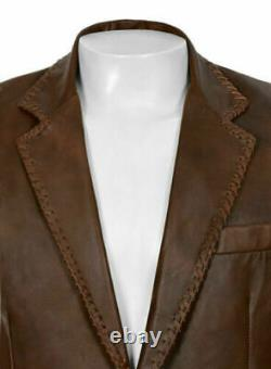 Man True Lamb's Leather Blazer Two Button Washed Brown Antique Coat
