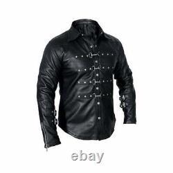 Men Leather Genuine Shirt Long Sleeve Party Clothing Club Vintage J