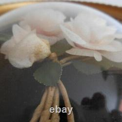 Miniature Frame White Pink Medallion Handmade Vintage Belle Époque N4382