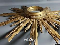 Mirror Sun Witch Eye, Golden Wood With Leaf. Vintage 50s
