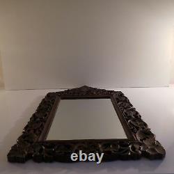 Mirror Wood Glass Cabinetry Vintage Art Nouveau Handmade Decoration Pn France N2271