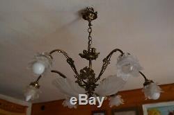 Murano Chandelier, Glass Paste, Shells, Art Nouveau Style, Vintage, Bronze