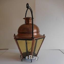 N1978 Lantern Copper Lighting Nineteenth Vintage Art Nouveau Handmade Pn France