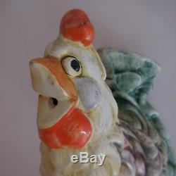 N2761 Ceramic Earthenware Slip Hen Vintage Art Nouveau Deco Twentieth Pn France