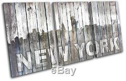 New York City Ny Vintage Wood City Treble Canvas Wall Art Photo Print
