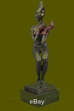 Numbered Vintage Art Deco Lady Jester Statue Made By Lost Wax Method