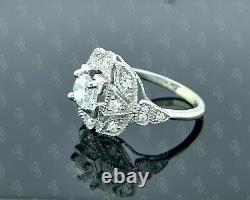 Old Art Deco Vintage Engagement Ring Silver