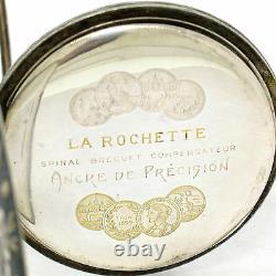 Old Art Nouveau La Rochette Pocket Watch En. 875 Silver And Black Enamel Case