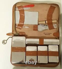 Old Case In Travel Leather Reisenecessary Glass Art Nouveau Vintage Flacons